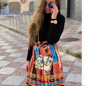 Zara Chain Print Pleated Mini Skirt 2011/610